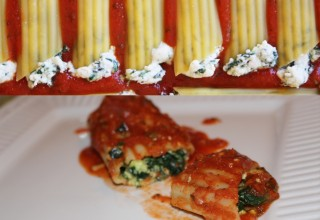 Italian Manicotti stuffed pasta shells
