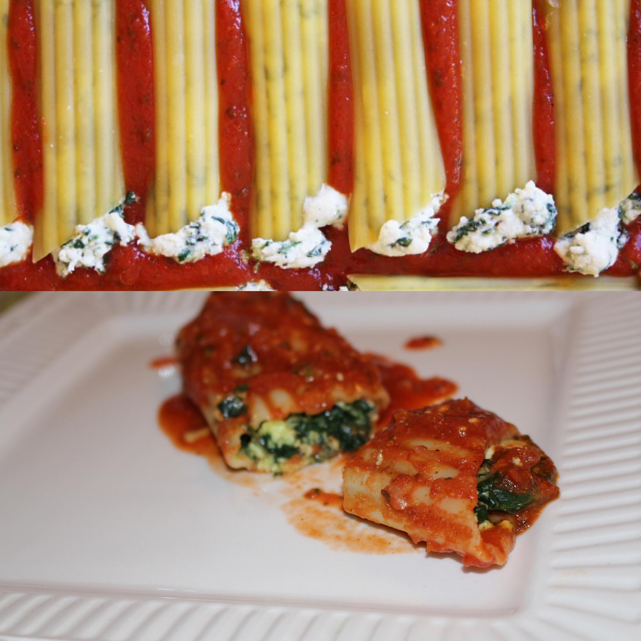 Spinach-Ricotta stuffed Manicotti