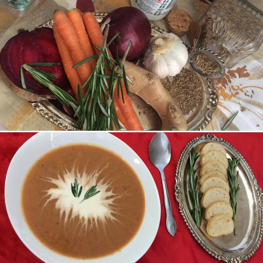 Rosemary infused Carrot-Beets-Coconut Soup