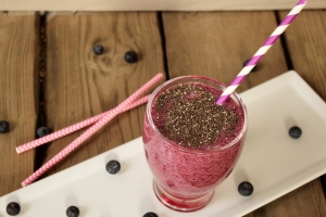 Chia-Blueberries-Green Tea Smoothie