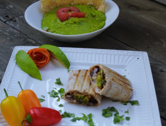 Garden Fresco Burrito-Stuffed with Oven Roasted Vegetables,White Rice and Black Beans