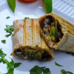 Garden Fresco Burrito-Stuffed with roasted vegetables, white rice and black beans