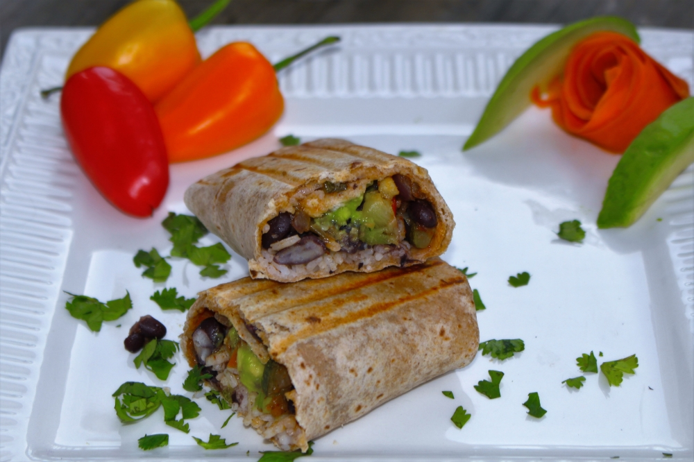 Stuffed with roasted vegetables, white rice and black beans