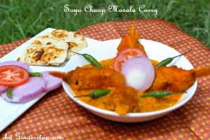 Soya Chaap Masala Curry-Vegetraian Chicken Masala