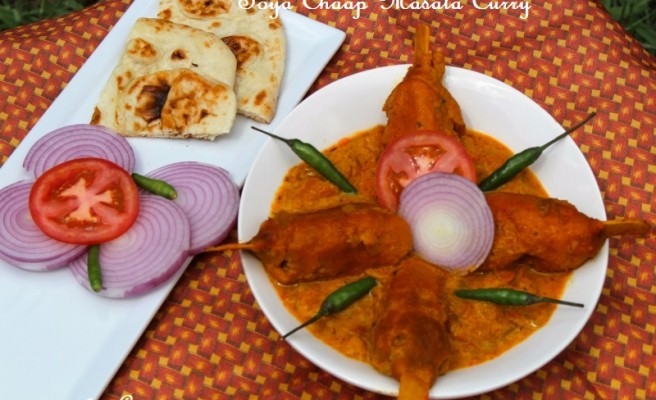 Soya Chaap Masala Curry-A Perfect Power-Packed Vegetarian Chicken from the Streets of Delhi