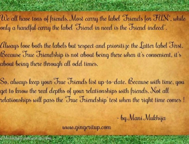 friendship quote – always keep your 'true friends' list up to date