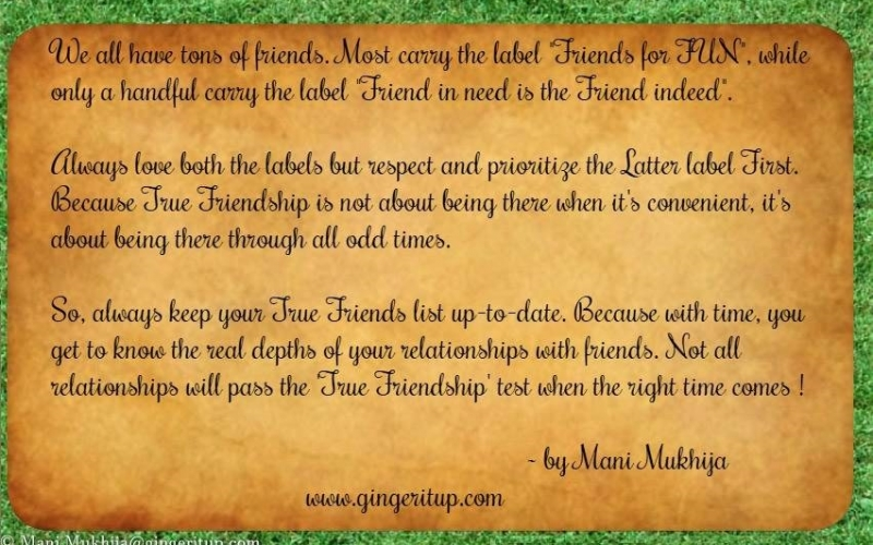 Friendship Quote – Always Keep your 'True Friends' List Up to Date!