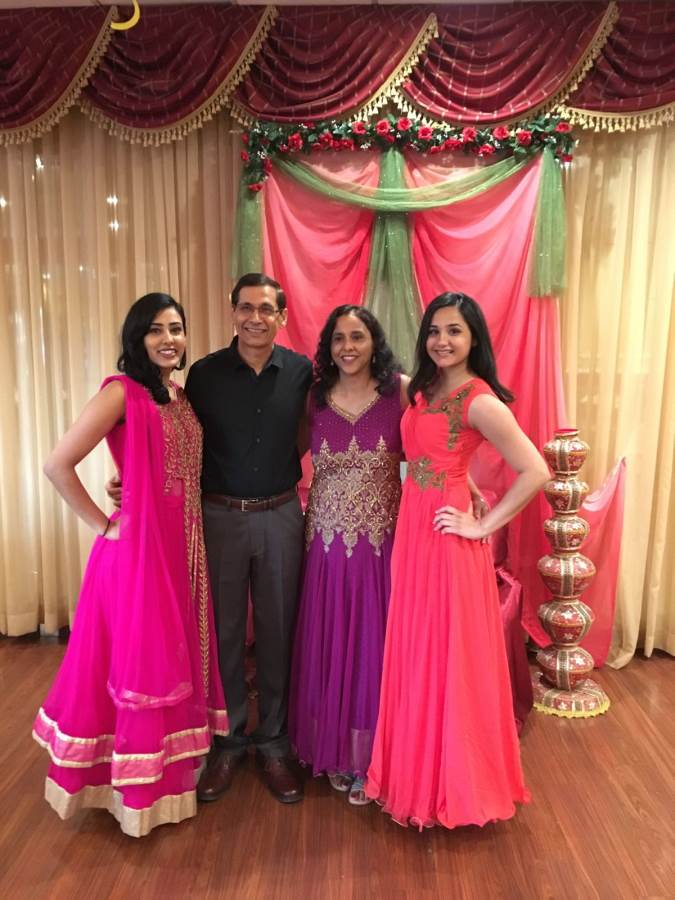 Restauranteur Sunil Handa with his wife and two daugters