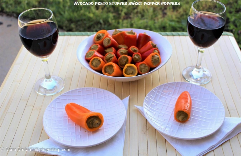 Avocado Pesto Stuffed Sweet Pepper Poppers