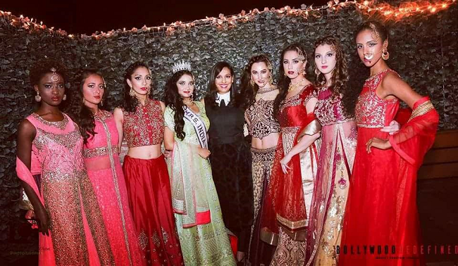 Ritu Bhat with the models showcasing the Bridal Collection of 'Ritu Selects'