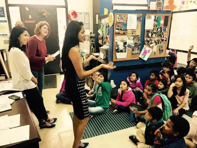 Councilwoman Ajmera meets young refugee and immigrant students at OurBridge.