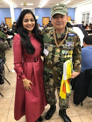 The Hon. Ajmera meets distinguished Vietnam Veteran Major Sung, USAF, Ret. and thanks him for his service.