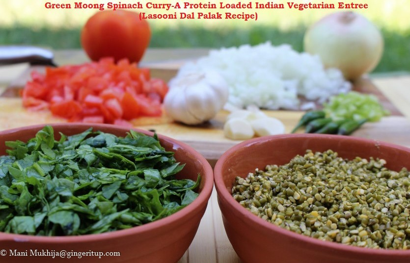 Green Moong Spinach Curry-A Protein Loaded Indian Vegetarian Entree (Lasooni Dal Palak Recipe)