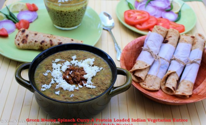 Green Moong Spinach Curry-A Protein Loaded Indian Vegetarian Entrée (Lasooni Dal Palak Recipe)
